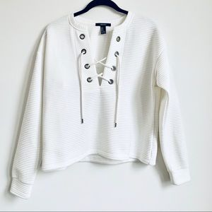 Forever 21 | Ribbed Criss Cross Tie White Sweater